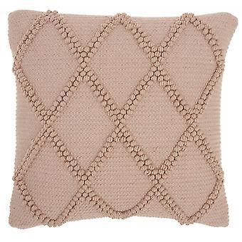 Poskipuna vaaleanpunainen kuvioitu ristikko heittää tyyny