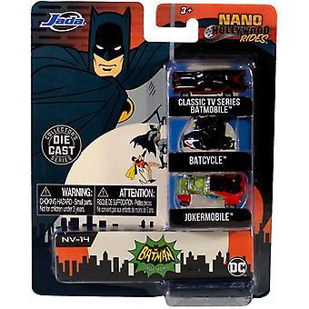 Nano Hollywood Rides (Série TV classique Batmobile Batcycle Jokermobile)