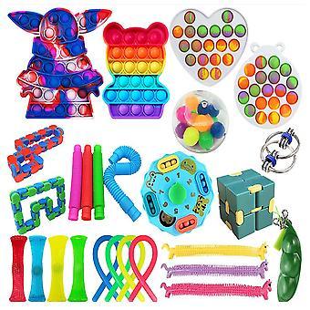 26pcs Stress Reliever Set Push Pop Bubble Diy Fidget Jucării pentru copii cu autism