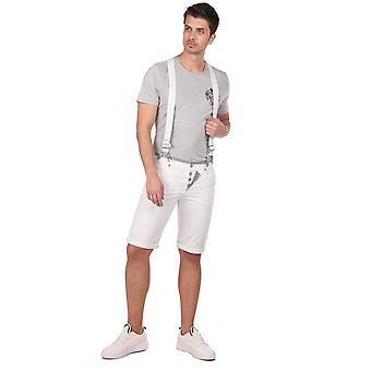 blå hvite menn jean shorts med stropp