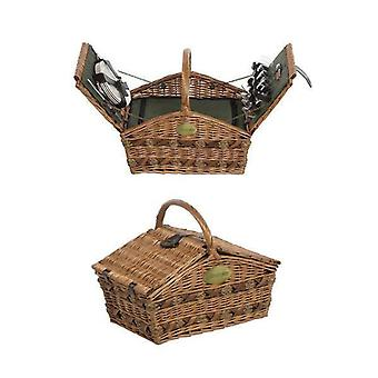 4 Personen ausgestattete Lifestyle Doppel Lidern grünen Picknick-Korb