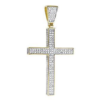 Premie Bling - 925 sterling Zilveren Kruis hanger-goud