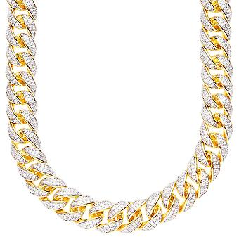 Sterling 925 Silver CZ bling chain - MIAMI CURB 12mm guld