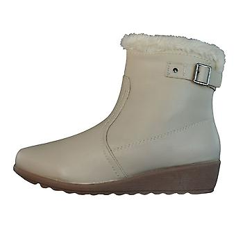 Centro Ronzo Womens Faux Fur Warm Winter Ankle Boots - Beige