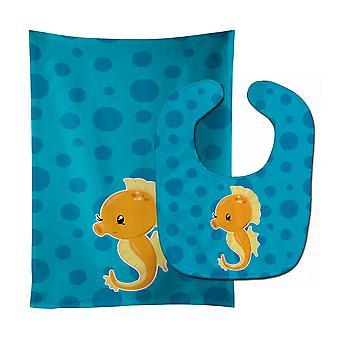 Carolines Treasures  BB8895STBU Nautical Seahorse Baby Bib & Burp Cloth