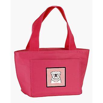 Checkerboard Pink White English Bulldog  Lunch Bag