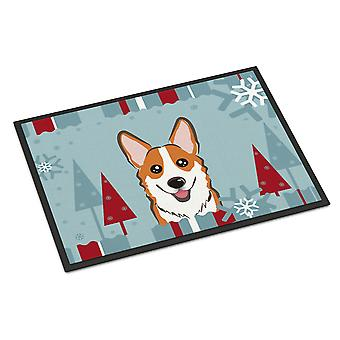 Winter Holiday Red Corgi Indoor or Outdoor Mat 18x27