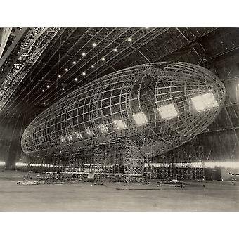 The nose of USS Akron being attached circa 1933 Poster Print by Stocktrek Images