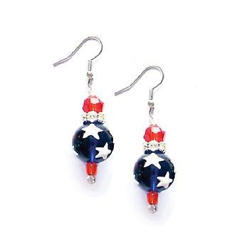 Todos Kate de grânulo de vidro americano vermelho branco azul strass e brincos de Macy