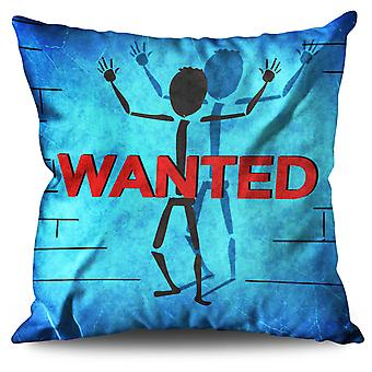Wanted Sticks Funny Linen Cushion 30cm x 30cm | Wellcoda