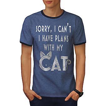 Haben Pläne Männer Heather blau / NavyRinger T-shirt | Wellcoda