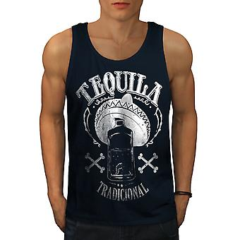 Tequila Traditional Men NavyTank Top | Wellcoda