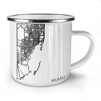 Miami City Map Fashion NEW WhiteTea Coffee Enamel Mug10 oz | Wellcoda