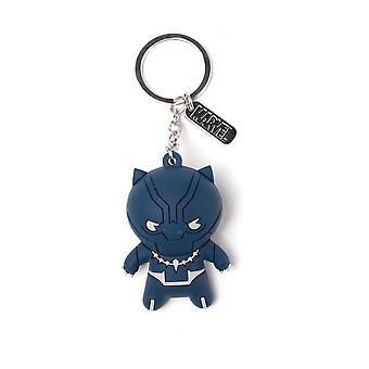 Marvel Comics Black Panther Kawaii 3D caoutchouc pendentif Keychain Keyring 10 cm bleu