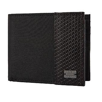 Replay purse wallet plånbok nylon/läder svart 2386
