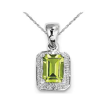 1.65 Carat (ctw) Emerald Cut Natural Green Peridot Pendant Necklace in Sterling Silver with Chain