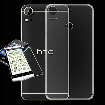 For HTC desire 10 Pro Silikoncase transparent bag + 0.3 H9 protective glass cover