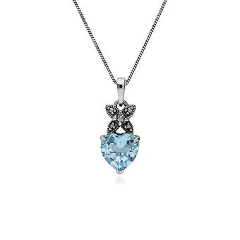 Topazio blu argento sterlina & Marcasite novembre cuore ciondolo catena 45cm