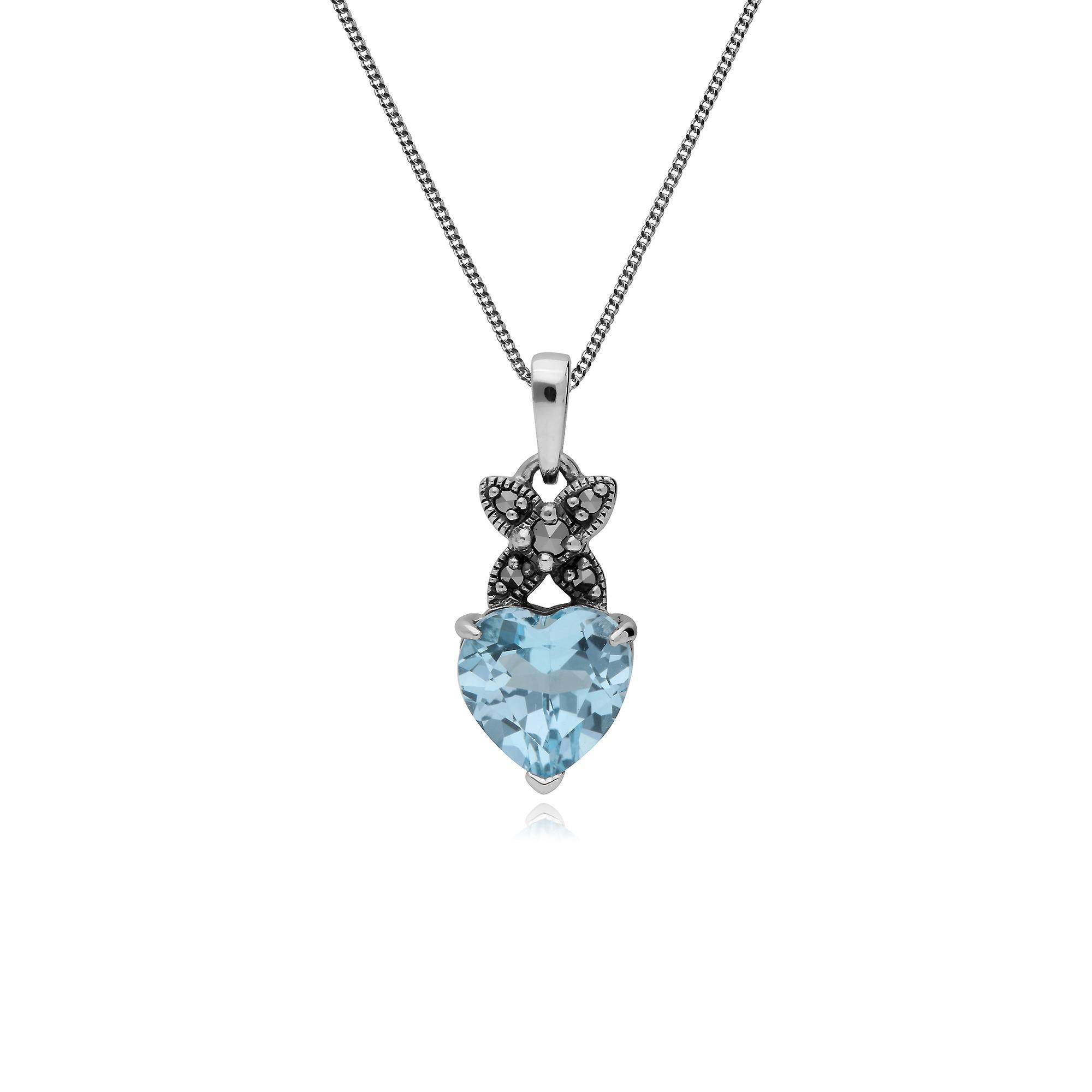 Sterling Silver Blue Topaz & Marcasite November Heart Pendant on 45cm Chain