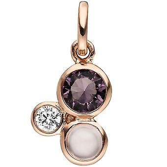 Pendant 925 sterling silver rose gold plated 2 cubic zirconia 1 glass block