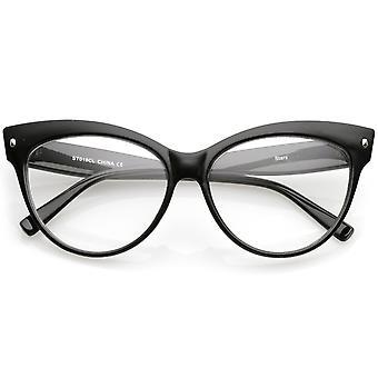 Vrouwen Oversize Wide wapens duidelijk Lens Cat Eye bril 58mm