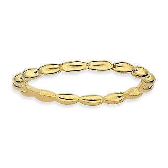 925 Sterling Silver Polished Patterned Stackable Expressions 14k Gold Plated Rice Bead Ring Jewelry Gifts for Women - Ri