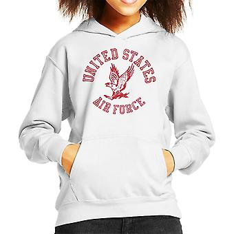 US Airforce Eagle Red Text Kid's Hooded Sweatshirt