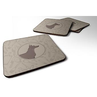 Set of 4 Mexican Hairless Dog Xolo In the Kitchen Foam Coasters Set of 4