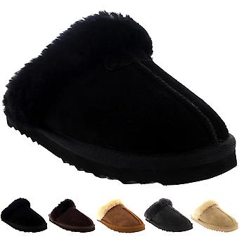 Womens Real Suede Australische schapenvacht Winter bont gevoerde warme muildieren UK 3-10
