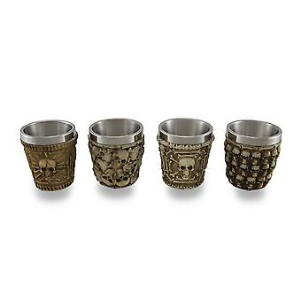 Set of 4 Human Skull Themed Shot Glasses