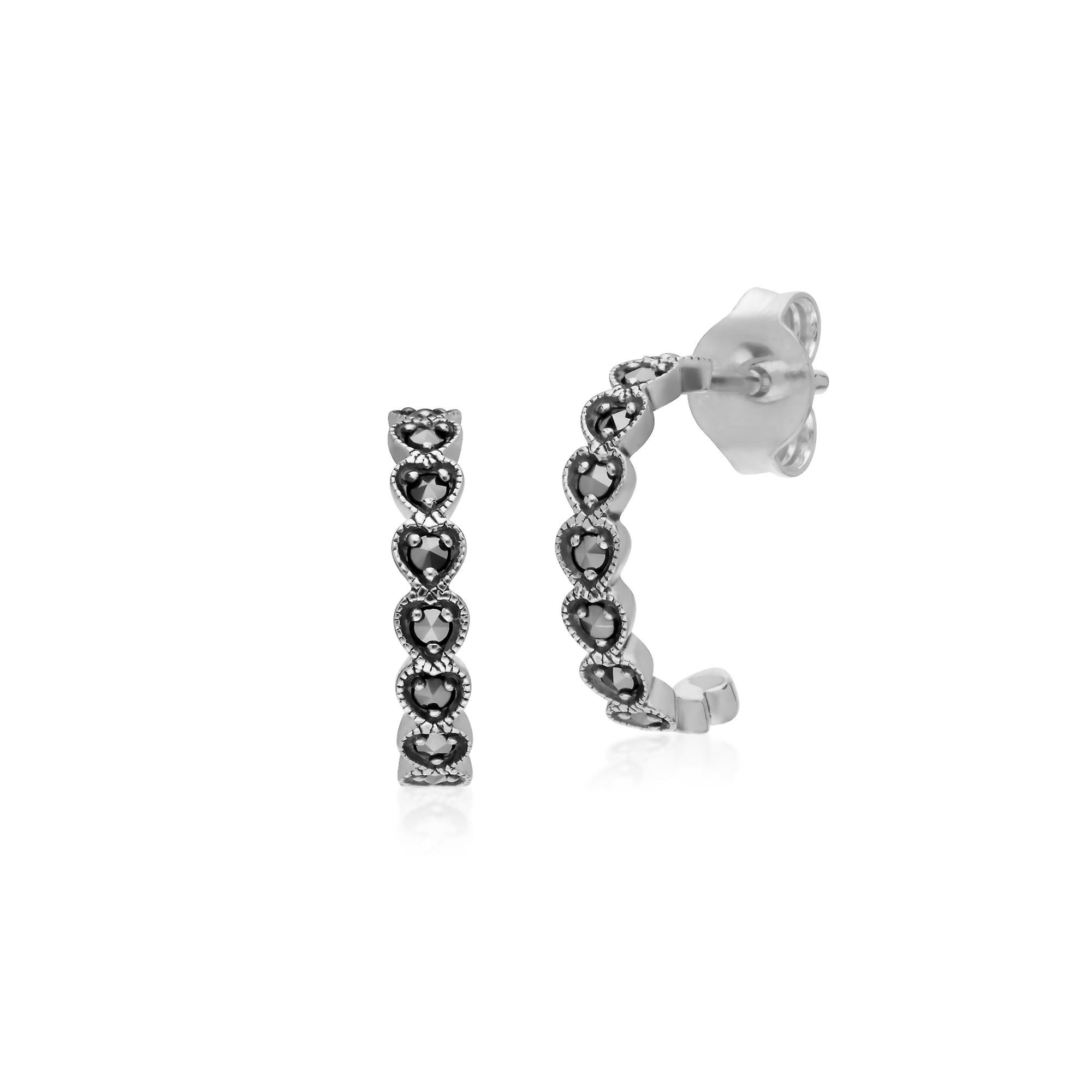 Gemondo Sterling Silver Marcasite Heart Half Hoop Stud Earrings