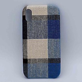 iPhone XR - hoesje - stof - schotse ruit - blauw