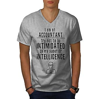 Buchhalter Inteligence Men GreyV-Neck T-Shirt | Wellcoda
