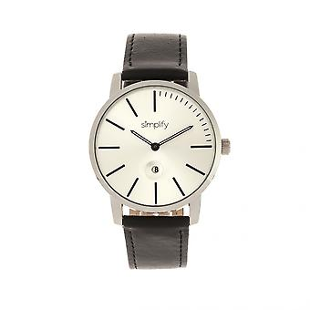 Simplify The 4700 Leather-Band Watch w/Date - Silver/Black