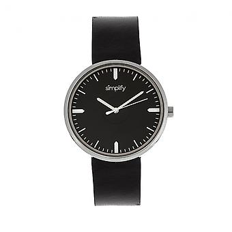Simplify The 4500 Leather-Band Watch - Silver/Black