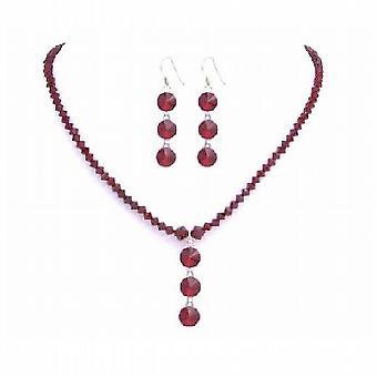 Sexy Siam rode Swarovski handgemaakte rode kristallen w / Drop-Down sieraden Set