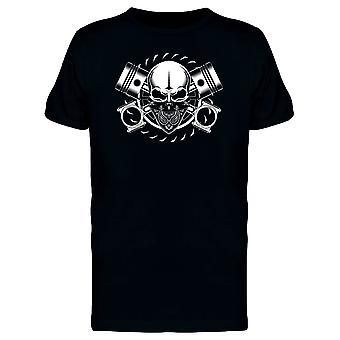 Totenkopf mit Kolben & Bandana T-Shirt Herren-Bild von Shutterstock