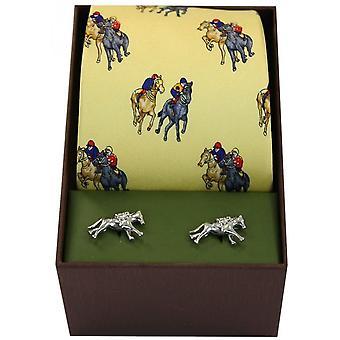David Van Hagen cavallo da corsa cravatta e gemelli Set - giallo