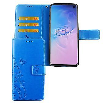 サムスンギャラクシーS10電話ケース保護ケースカバーフリップケースカードトレイブルー