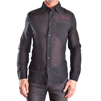 Frankie Morello Ezbc167028 Men's Camisa de Algodão Preto