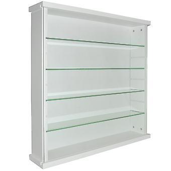 Exhibir - gabinete de exhibición de madera maciza 4 estante cristal pared - blanco