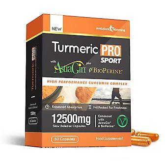 Kurkuma Pro SPORT met AstraGin plus BioPerine 12, 500 mg 95% curcuminoïden-60 capsules (1 maand)-hersenen, hart-en gewrichts gezondheid-evolution Slimming