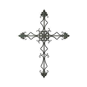Verfresste Galvanisierte Metallkunst-Flotte De Lis Wall Cross Large