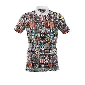 120% P0m7282000f614301p050 Men's Multicolor Linen Polo Shirt