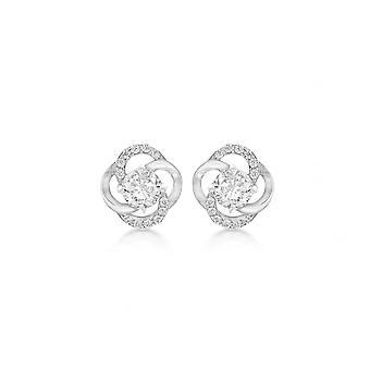 Eternity Sterling Silver Cubic Zirconia Knot Stud Boucles d'oreilles