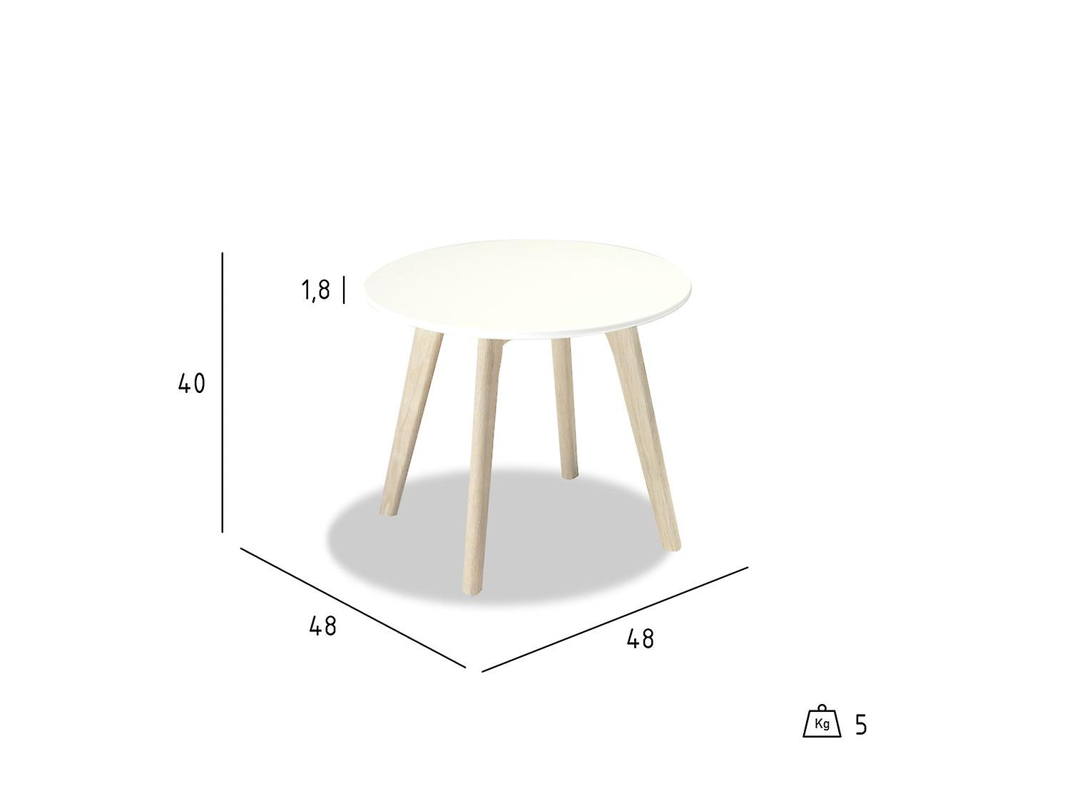 Furnhouse Life Coffee Table, White Top, Natural Wooden Legs, 48x48x40 cm