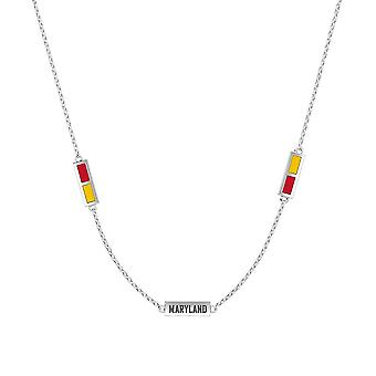 University Of Maryland Sterling Silver Engraved Triple Station In Necklace In Red and Yellow