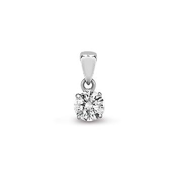 Jewelco London Ladies Solid 18ct White Gold 4 Claw Set Round G SI1 0.1ct Diamond Solitaire Charm Pendant