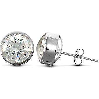 Jewelco London 9ct White Gold White Round Brilliant Cubic Zirconia Rub Over Solitaire Stud Earrings, 7mm