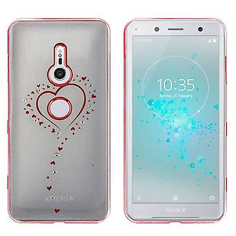 Sony XZ2 Compact Case Hearts Rose Gold - Backcover Clear Bumper Look